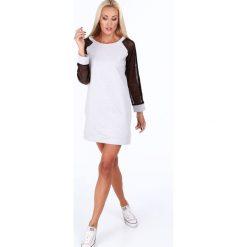 Sukienka sportowa z siatkowymi rękawami jasnoszara 0201. Szare sukienki Fasardi, l, sportowe, sportowe. Za 99,00 zł.