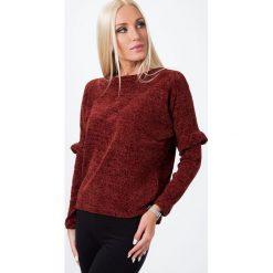 Sweter z szenili bordowy 1535. Czerwone swetry klasyczne damskie Fasardi. Za 39,00 zł.