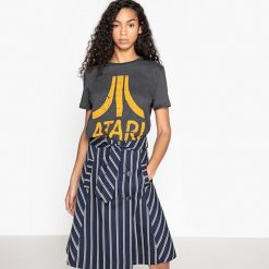 Bluzki asymetryczne: Koszulka z okrągłym wycięciem szyi, nadrukiem i krótkim rękawem