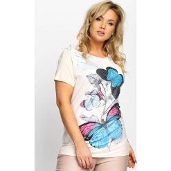 T-shirty damskie: Beżowy T-shirt Full Of Colors