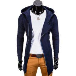 BLUZA MĘSKA ROZPINANA Z KAPTUREM B680 - GRANATOWA. Czarne bluzy asymetryczne męskie marki Ombre Clothing, m, z bawełny, z kapturem. Za 69,00 zł.