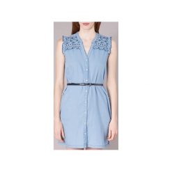 Sukienki krótkie Pepe jeans  LURA. Niebieskie sukienki mini marki Pepe Jeans, l, z jeansu, z krótkim rękawem. Za 319,20 zł.