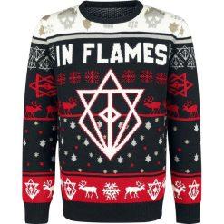 In Flames Holiday Sweater 2018 Sweter z dzianiny czarny/biały/czerwony. Białe swetry klasyczne męskie In Flames, xl, z dzianiny, z okrągłym kołnierzem. Za 199,90 zł.