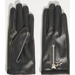 Rękawiczki z ozdobnym zamkiem - Czarny. Czarne rękawiczki damskie Sinsay. Za 29,99 zł.