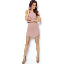 Różowa Asymetryczna Mini Spódnica na Gumie. Czerwone minispódniczki marki Molly.pl, l, z bawełny, eleganckie, z podwyższonym stanem, asymetryczne. Za 78,90 zł.