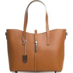 Torebki klasyczne damskie: Skórzana torebka w kolorze brązowym – 40 x 27 x 14 cm