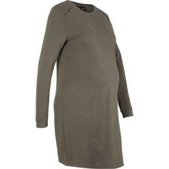 Sukienka ciążowa dresowa bonprix ciemnooliwkowy. Szare długie sukienki marki bonprix, melanż, z dresówki, z kapturem, z długim rękawem. Za 109,99 zł.