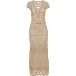 Sukienka dzianinowa bonprix naturalny. Brązowe sukienki dzianinowe marki bonprix, na lato, w ażurowe wzory. Za 179,99 zł.