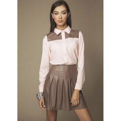 Bielizna damska: Różowa Koszula z Wstawką z Eko-skóry
