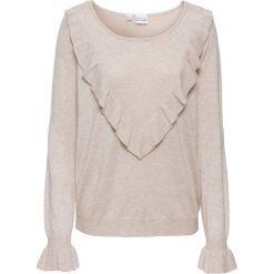 Sweter z falbaną bonprix beżowy. Brązowe swetry klasyczne damskie bonprix. Za 89,99 zł.