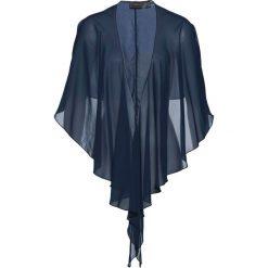 Bluzka narzutka bonprix ciemnoniebieski. Niebieskie bluzki wizytowe bonprix, z materiału. Za 44,99 zł.