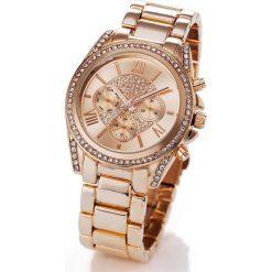 Zegarek chronograf na metalowej bransoletce bonprix kolor czerwonego złota. Żółte zegarki damskie bonprix, metalowe. Za 89,99 zł.