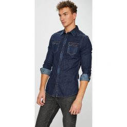 Guess Jeans - Koszula Connor. Szare koszule męskie jeansowe Guess Jeans, l, z aplikacjami, z klasycznym kołnierzykiem, z długim rękawem. Za 379,90 zł.