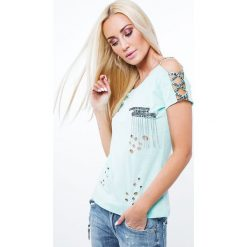 Bluzki damskie: Bluzka z orginalnymi zdobieniami miętowa ZZ1050