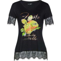 Bluzki, topy, tuniki: T-shirt z koronką bonprix czarno-żółty z nadrukiem