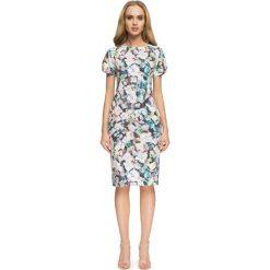 Wzorzysta Sukienka Marszczona na Bokach - Model 1. Szare sukienki mini marki Molly.pl, l, w kolorowe wzory, z tkaniny. Za 138,90 zł.