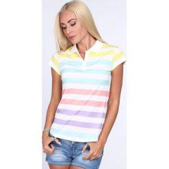 Koszulka polo w pastelowe paski 7589. Szare bluzki damskie Fasardi, l, w paski, polo. Za 39,00 zł.