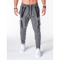 SPODNIE MĘSKIE JOGGERY P671 - SZARE. Szare joggery męskie Ombre Clothing. Za 89,00 zł.