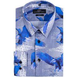 Koszula SIMONE KDWS000225. Niebieskie koszule męskie na spinki Giacomo Conti, na jesień, m, z nadrukiem, z bawełny, z włoskim kołnierzykiem. Za 199,00 zł.