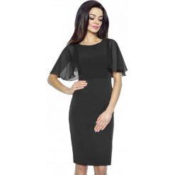 Sukienki: Czarna Ołówkowa Sukienka z Szyfonowym Rękawkiem