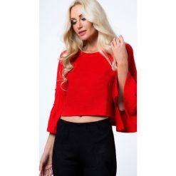 Krótka bluzka z prążkowanego materiału czerwona 21791. Czarne bluzki z odkrytymi ramionami marki Fasardi, m, z dresówki. Za 39,00 zł.