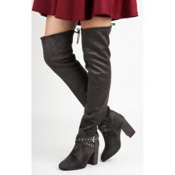 Buty zimowe damskie: Muszkieterki z ozdobną sprzączką AUBREE