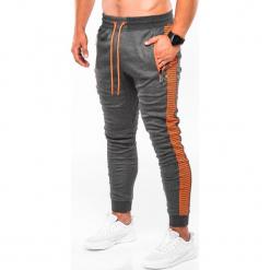 SPODNIE MĘSKIE DRESOWE P730 - GRAFITOWE/POMARAŃCZOWE. Brązowe spodnie dresowe męskie Ombre Clothing, z bawełny. Za 59,00 zł.
