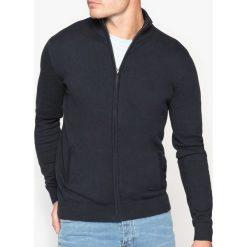 Sweter na zamek z kołnierzem na stójce, 100% bawełny. Szare kardigany męskie marki La Redoute Collections, m, z bawełny, z kapturem. Za 102,86 zł.
