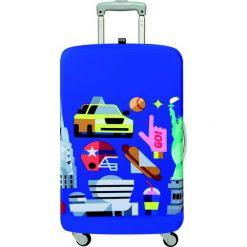 Pokrowiec na walizkę LOQI Hey New York. Niebieskie walizki LOQI, z elastanu. Za 114,00 zł.