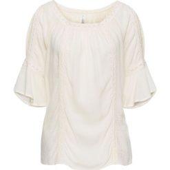 Bluzka kreszowana z koronkową wstawką bonprix kremowy. Brązowe bluzki z odkrytymi ramionami bonprix, z koronki. Za 109,99 zł.