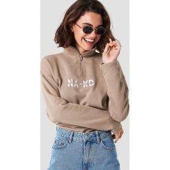 NA-KD Bluza z suwakiem - Brown,Beige. Brązowe bluzy rozpinane damskie NA-KD, z bawełny, z długim rękawem, długie. Za 161,95 zł.