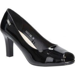 Czarne czółenka lakierowane na słupku peep toe Sergio Leone CZ577-25L. Czarne buty ślubne damskie marki Sergio Leone. Za 88,99 zł.