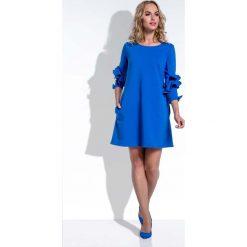 Trapezowa Krótka Chabrowa Sukienka z Falbankami na Rękawach. Niebieskie sukienki mini marki Molly.pl, na co dzień, m, z dzianiny, z falbankami, z krótkim rękawem, trapezowe. Za 130,00 zł.