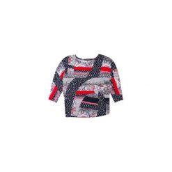 Bluzki asymetryczne: bluzka damska luźna, krój nietoperz we wzory