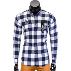 KOSZULA MĘSKA W KRATĘ Z DŁUGIM RĘKAWEM K369 - GRANATOWA. Niebieskie koszule męskie na spinki Ombre Clothing, m, z kontrastowym kołnierzykiem, z długim rękawem. Za 39,00 zł.