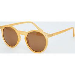 Okrągłe okulary przeciwsłoneczne z tworzywa. Szare okulary przeciwsłoneczne damskie lenonki marki ORAO. Za 49,90 zł.