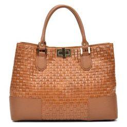 Torebki i plecaki damskie: Skórzana torebka w kolorze jasnobrązowym – (S)27 x (W)38 x (G)15 cm