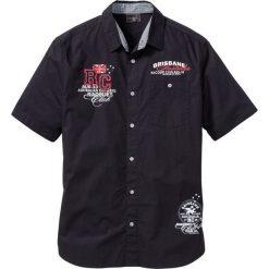 Koszula z krótkim rękawem bonprix czarny. Czarne koszule męskie na spinki bonprix, l, z aplikacjami, z krótkim rękawem. Za 74,99 zł.