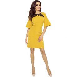 Sukienki: Miodowa Sukienka z Koronką z Kloszowanym Rękawem