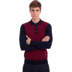 Swetry klasyczne męskie: Sweter w kolorze czerwono-granatowym