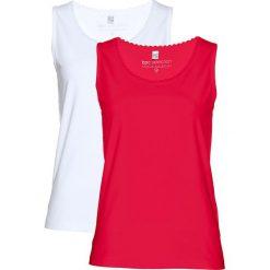 Top (2 szt.) bonprix czerwony + biały. Białe topy damskie bonprix, z koronki, z klasycznym kołnierzykiem. Za 49,98 zł.