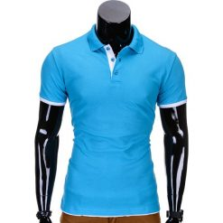 KOSZULKA MĘSKA POLO BEZ NADRUKU S758 - TURKUSOWA. Niebieskie koszulki polo marki Ombre Clothing, m, z nadrukiem. Za 29,00 zł.