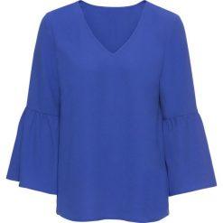 Bluzki asymetryczne: Bluzka z rozkloszowanymi rękawami bonprix szafirowy