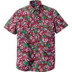 Koszule męskie na spinki: Koszula z krótkim rękawem Slim Fit bonprix bordowy z nadrukiem