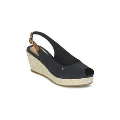 Sandały Tommy Hilfiger  ICONIC ELBA BASIC SLING BACK. Czarne sandały damskie marki TOMMY HILFIGER, z materiału, z okrągłym noskiem, na obcasie. Za 279,20 zł.