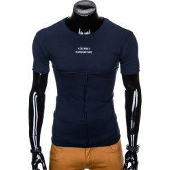 T-SHIRT MĘSKI Z NADRUKIEM S958 - GRANATOWY. Czarne t-shirty męskie z nadrukiem marki Ombre Clothing, m, z bawełny, z kapturem. Za 29,00 zł.