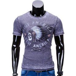 T-shirty męskie: T-SHIRT MĘSKI Z NADRUKIEM S668 – SZARY