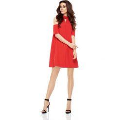 Wizytowa Sukienka o Linii A z Wyciętymi Ramionami - Czerwona. Czerwone sukienki koktajlowe marki Molly.pl, na imprezę, l, z tkaniny, dekolt w kształcie v, z krótkim rękawem, mini, proste. Za 158,90 zł.