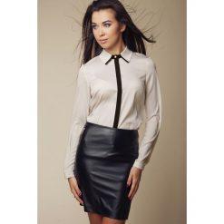 Bielizna damska: Elegancka Koszula z Kontrastową Lamówką - Beżowy
