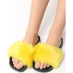 Klapki damskie: Żółte Klapki Hirsute